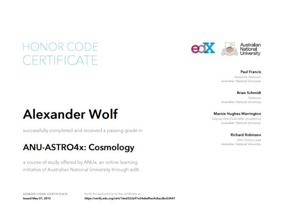 Сертификат об окончании курса ANU-ASTRO4x